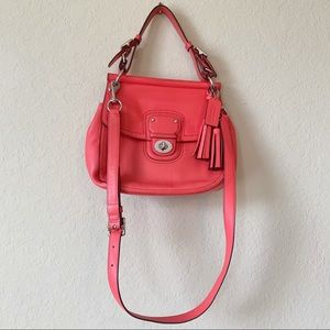Coach Coral Red WILLIS Convertible Crossbody bag